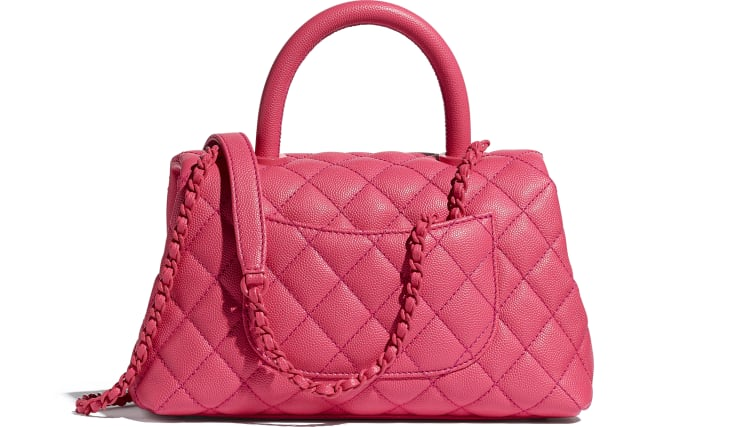 image 2 - Flap Bag with Top Handle - Grained Calfskin & Lacquered Metal - Pink