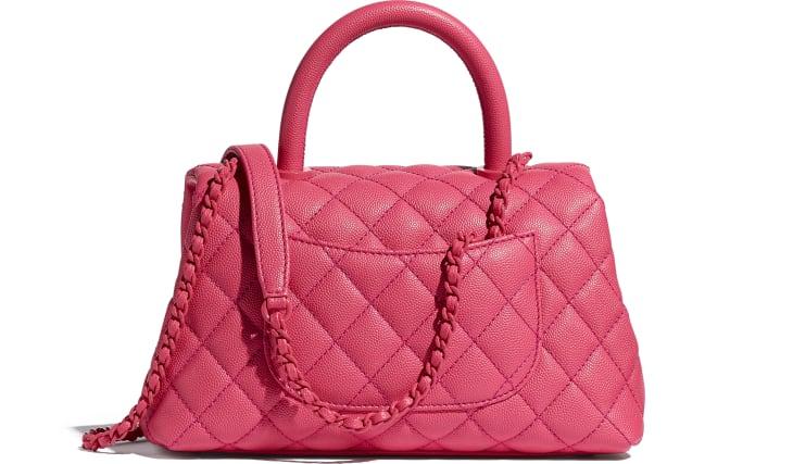 image 2 - Bolsa Com Alça - Couro de Novilho Granulado & Metal Laqueado - Rosa