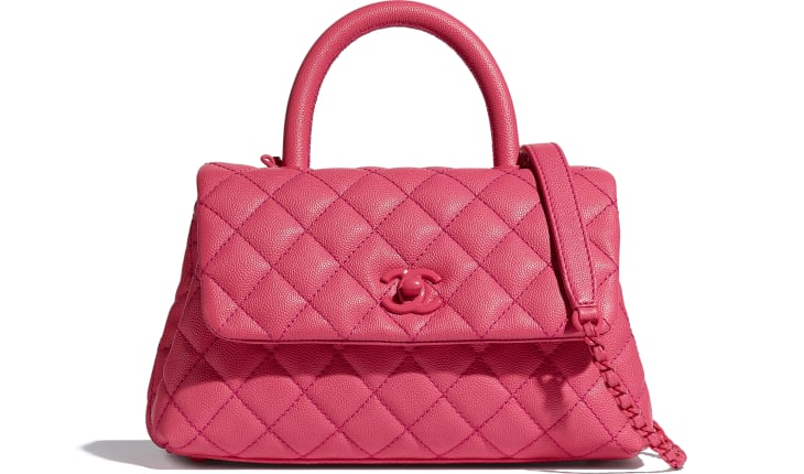 image 1 - Flap Bag with Top Handle - Grained Calfskin & Lacquered Metal - Pink