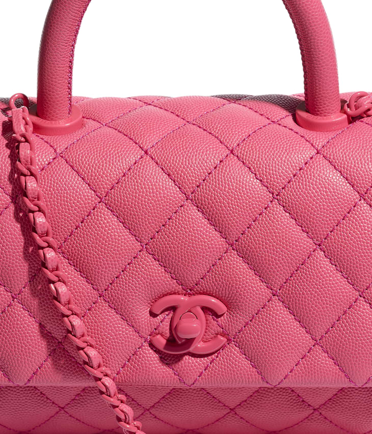 image 4 - Flap Bag with Top Handle - Grained Calfskin & Lacquered Metal - Pink