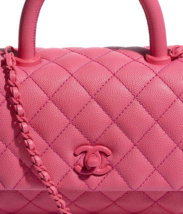 image 4 - Bolsa Com Alça - Couro de Novilho Granulado & Metal Laqueado - Rosa