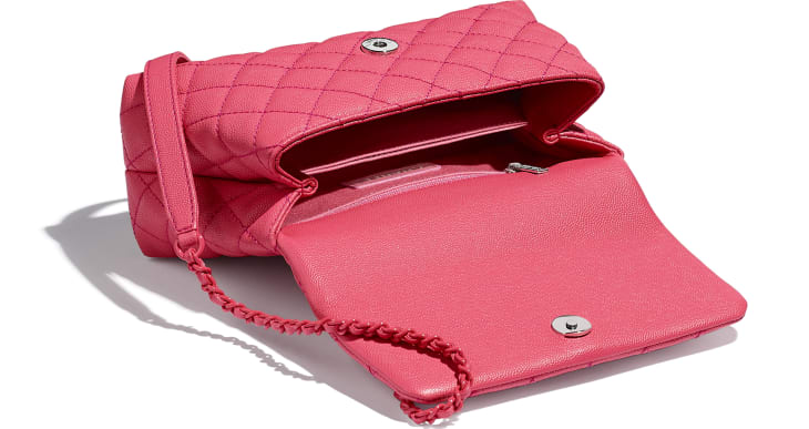 image 3 - Flap Bag with Top Handle - Grained Calfskin & Lacquered Metal - Pink