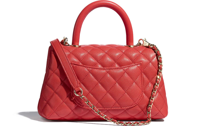 image 2 - Flap Bag with Top Handle - Grained Calfskin & Gold-Tone Metal - Red