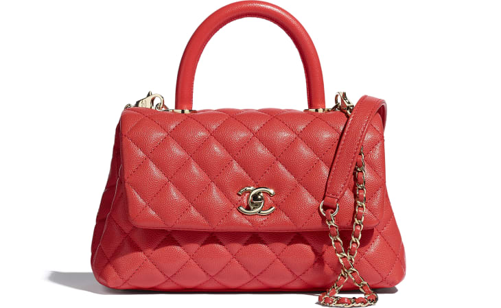 image 1 - Flap Bag with Top Handle - Grained Calfskin & Gold-Tone Metal - Red