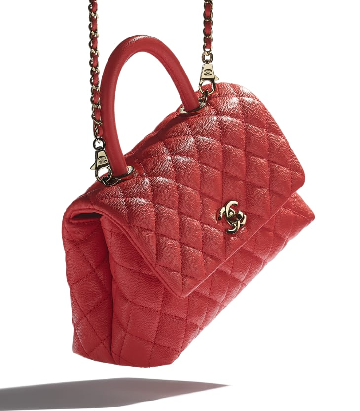 image 4 - Flap Bag with Top Handle - Grained Calfskin & Gold-Tone Metal - Red