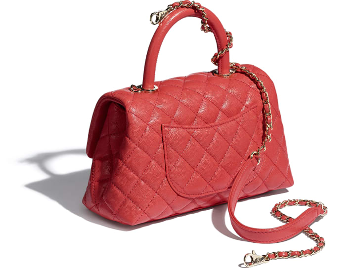 image 3 - Flap Bag with Top Handle - Grained Calfskin & Gold-Tone Metal - Red