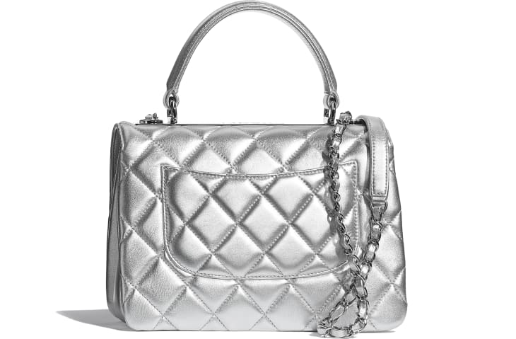 image 2 - Flap Bag with Top Handle - Metallic Lambskin & Silver-Tone Metal - Silver