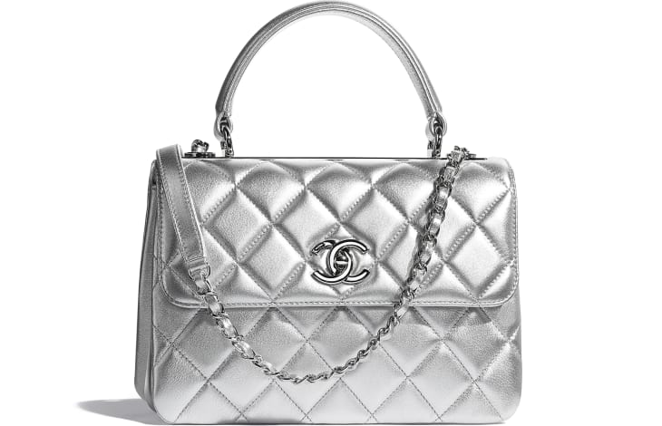 image 1 - Flap Bag with Top Handle - Metallic Lambskin & Silver-Tone Metal - Silver