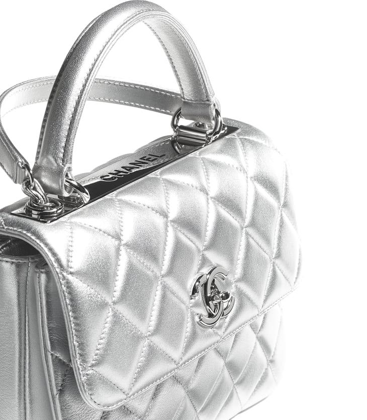 image 4 - Flap Bag with Top Handle - Metallic Lambskin & Silver-Tone Metal - Silver