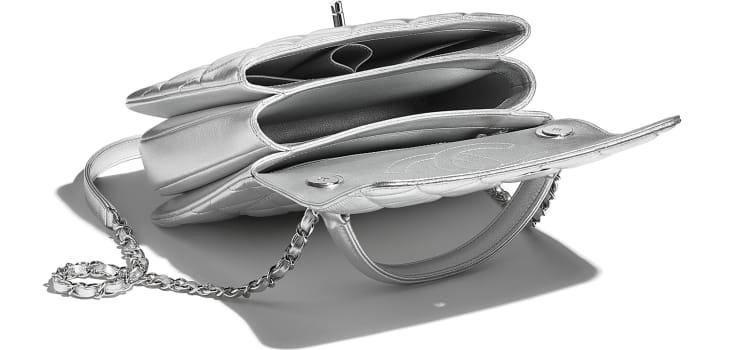 image 3 - Flap Bag with Top Handle - Metallic Lambskin & Silver-Tone Metal - Silver