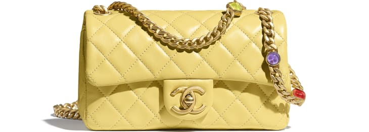 image 1 - Flap Bag - Lambskin, Resin & Gold-Tone Metal - Yellow