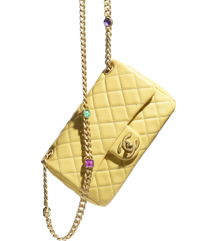 image 4 - Flap Bag - Lambskin, Resin & Gold-Tone Metal - Yellow