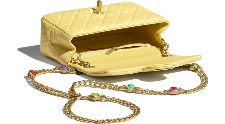image 3 - Flap Bag - Lambskin, Resin & Gold-Tone Metal - Yellow