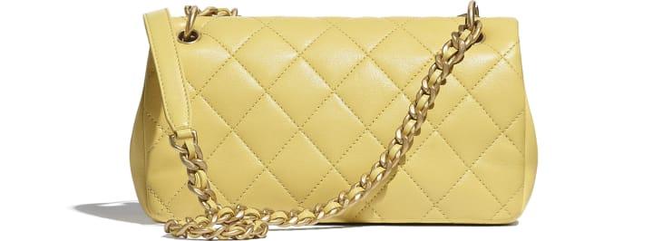 image 2 - Flap Bag - Shiny Lambskin & Gold-Tone Metal - Yellow