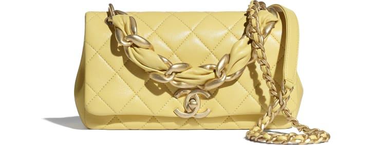 image 1 - Flap Bag - Shiny Lambskin & Gold-Tone Metal - Yellow