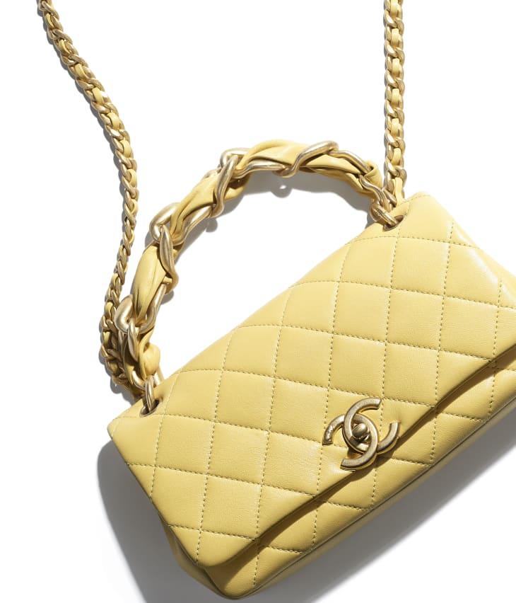 image 4 - Bolsa - Couro de cordeiro brilhante & metal dourado - Amarelo