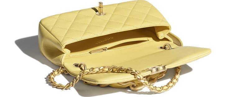 image 3 - Flap Bag - Shiny Lambskin & Gold-Tone Metal - Yellow