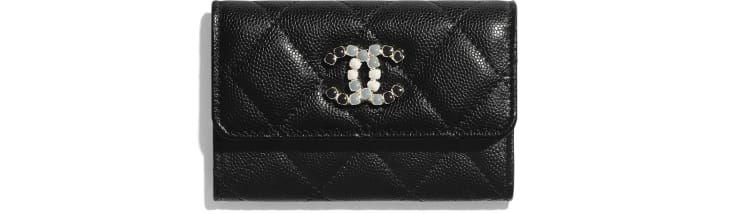 image 1 - Flap Card Holder - Grained Calfskin & Laquered Gold-Tone Metal - Black