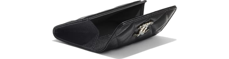 image 4 - Flap Card Holder - Grained Calfskin & Laquered Gold-Tone Metal - Black