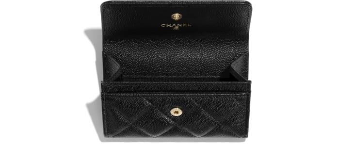 image 3 - Flap Card Holder - Grained Calfskin & Laquered Gold-Tone Metal - Black