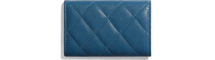 image 2 - Flap Card Holder - Grained Calfskin & Lacquered Metal - Navy Blue