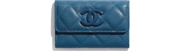image 1 - Flap Card Holder - Grained Calfskin & Lacquered Metal - Navy Blue