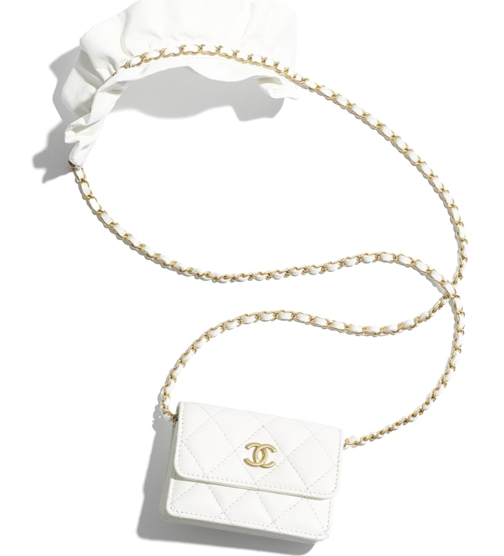 image 1 - Flap Card Holder with Chain - Lambskin & Gold-Tone Metal - White