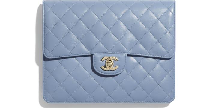 image 1 - Pochette à rabat - Agneau & métal doré - Bleu ciel