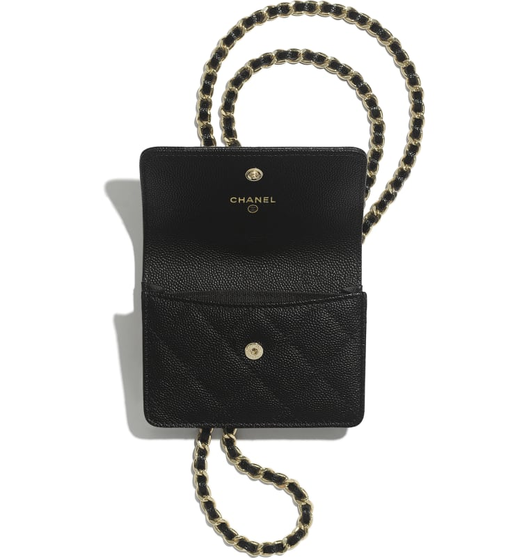 image 2 - Flap Coin Purse with Chain - Grained Calfskin, Imitation Pearl & Gold-Tone Metal - Black