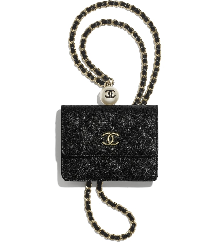 image 1 - Flap Coin Purse with Chain - Grained Calfskin, Imitation Pearl & Gold-Tone Metal - Black