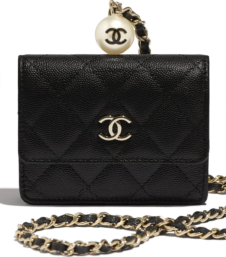 image 4 - Flap Coin Purse with Chain - Grained Calfskin, Imitation Pearl & Gold-Tone Metal - Black