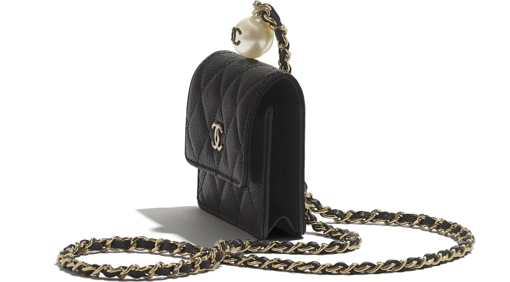 image 3 - Flap Coin Purse with Chain - Grained Calfskin, Imitation Pearl & Gold-Tone Metal - Black