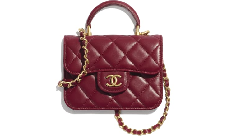 image 1 - Flap Coin Purse with Chain - Lambskin & Gold-Tone Metal - Burgundy