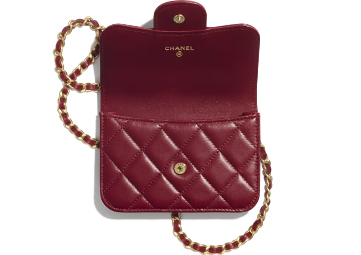 image 2 - Flap Coin Purse with Chain - Lambskin & Gold-Tone Metal - Burgundy