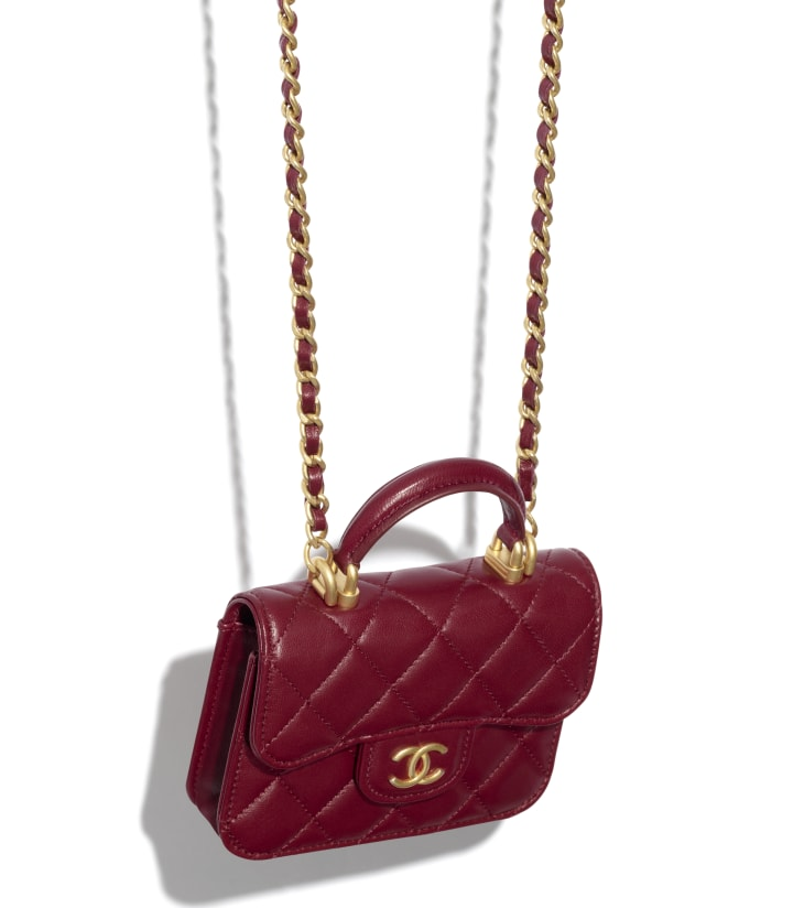 image 3 - Flap Coin Purse with Chain - Lambskin & Gold-Tone Metal - Burgundy