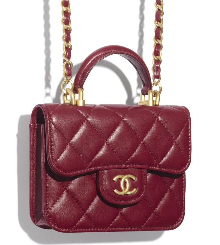 image 4 - Flap Coin Purse with Chain - Lambskin & Gold-Tone Metal - Burgundy