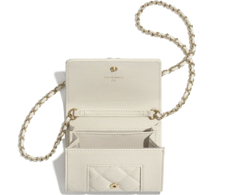 image 2 - Flap Coin Purse with Chain - Grained Lambskin, Lacquered & Gold-Tone Metal - Ecru