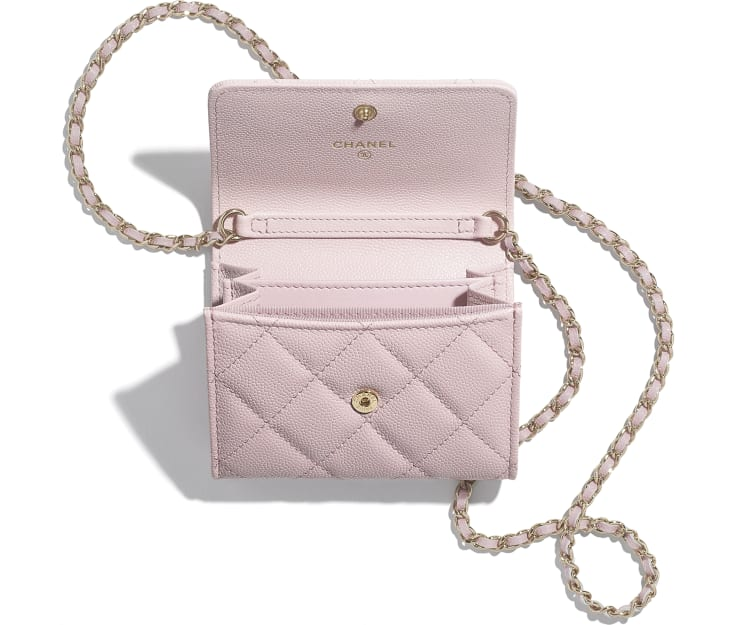 image 2 - Flap Coin Purse with Chain - Grained Calfskin & Gold-Tone Metal - Light Pink