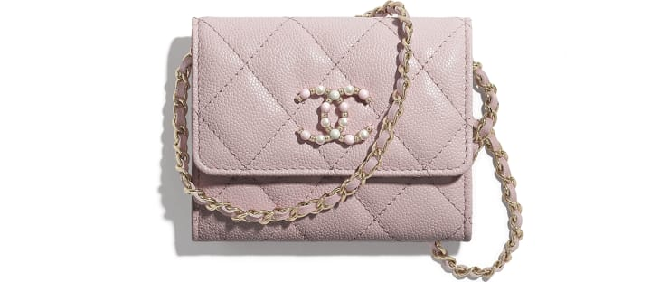 image 1 - Flap Coin Purse with Chain - Grained Calfskin & Gold-Tone Metal - Light Pink