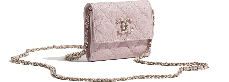 image 4 - Flap Coin Purse with Chain - Grained Calfskin & Gold-Tone Metal - Light Pink