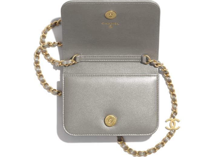 image 2 - Flap Coin Purse with Chain - Metallic Embroidered Lambskin & Gold-Tone Metal - Silver