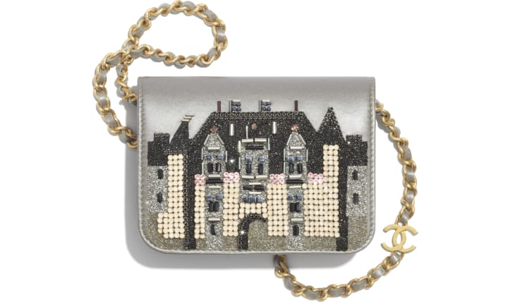 image 1 - Flap Coin Purse with Chain - Metallic Embroidered Lambskin & Gold-Tone Metal - Silver