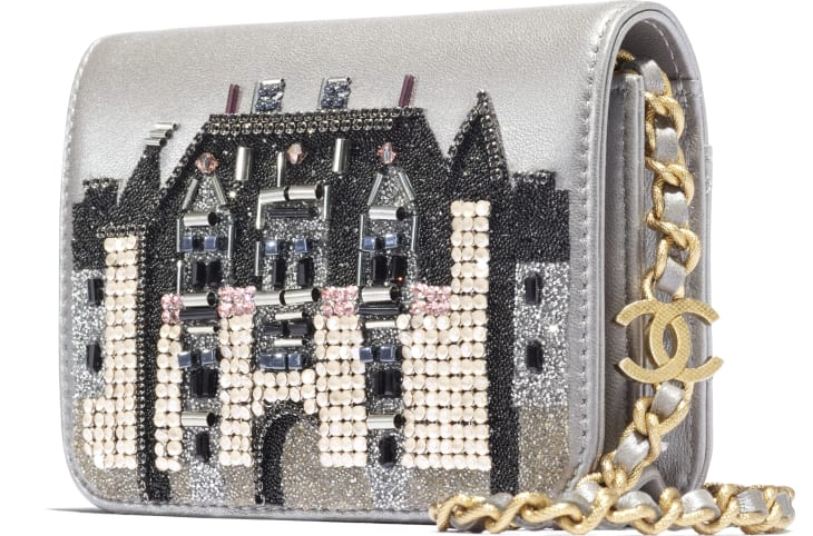 image 4 - Flap Coin Purse with Chain - Metallic Embroidered Lambskin & Gold-Tone Metal - Silver