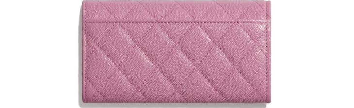 image 2 - Flap Wallet - Grained Calfskin & Laquered Gold-Tone Metal - Pink