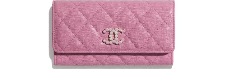 image 1 - Flap Wallet - Grained Calfskin & Laquered Gold-Tone Metal - Pink