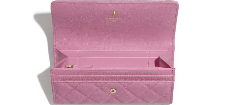 image 3 - Flap Wallet - Grained Calfskin & Laquered Gold-Tone Metal - Pink