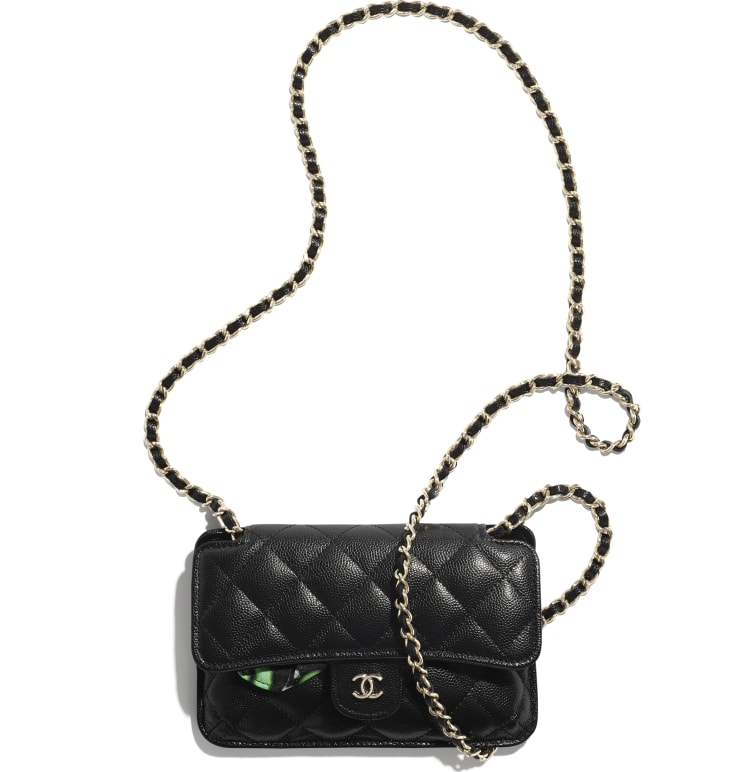 image 3 - Foldable Tote Bag with Chain - Printed Fabric, Grained Calfskin & Gold-Tone Metal - Preto & Multicolorido
