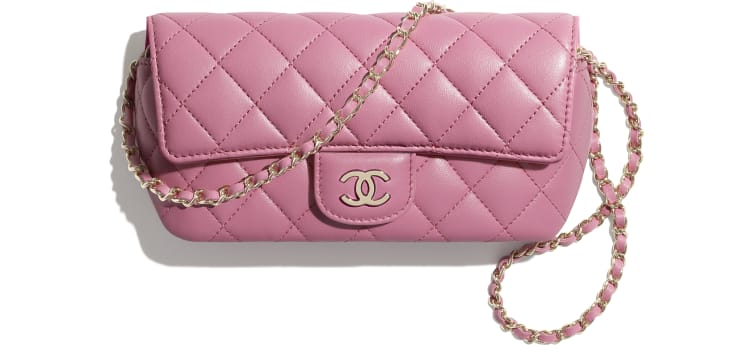 image 1 - Glasses Case with Classic Chain - Lambskin & Gold-Tone Metal - Pink