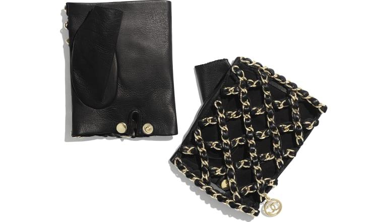 image 2 - Gloves - Lambskin & Gold-Tone Metal - Black