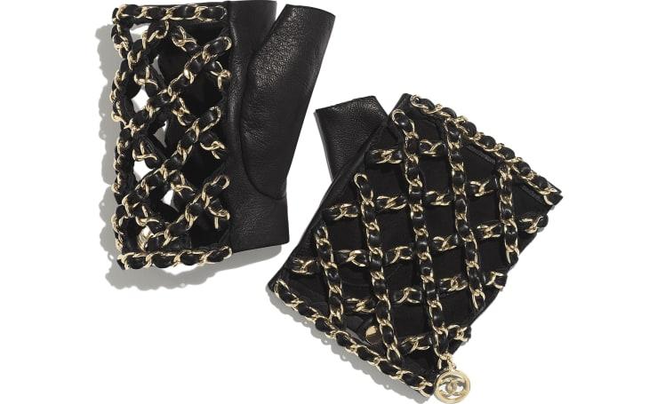 image 1 - Gloves - Lambskin & Gold-Tone Metal - Black